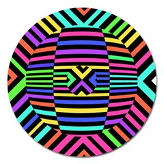 Optical Illusion Line Wave Chevron Rainbow Colorfull Magnet 5  (round) by Mariart
