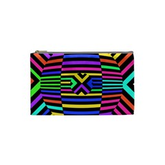 Optical Illusion Line Wave Chevron Rainbow Colorfull Cosmetic Bag (small)  by Mariart