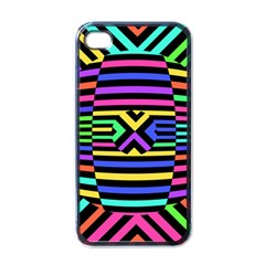 Optical Illusion Line Wave Chevron Rainbow Colorfull Apple Iphone 4 Case (black) by Mariart