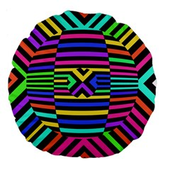 Optical Illusion Line Wave Chevron Rainbow Colorfull Large 18  Premium Flano Round Cushions by Mariart