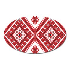 Model Traditional Draperie Line Red White Triangle Oval Magnet by Mariart