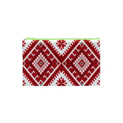 Model Traditional Draperie Line Red White Triangle Cosmetic Bag (xs) by Mariart