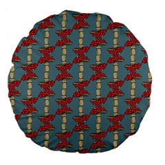 Mushroom Madness Red Grey Polka Dots Large 18  Premium Flano Round Cushions by Mariart
