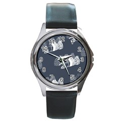 Japan Food Sashimi Round Metal Watch by Mariart