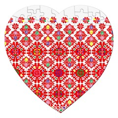 Plaid Red Star Flower Floral Fabric Jigsaw Puzzle (heart) by Mariart