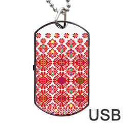 Plaid Red Star Flower Floral Fabric Dog Tag Usb Flash (one Side) by Mariart