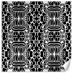 Psychedelic Pattern Flower Black Canvas 16  X 16   by Mariart