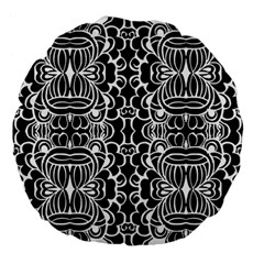 Psychedelic Pattern Flower Black Large 18  Premium Flano Round Cushions by Mariart