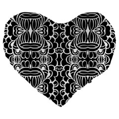 Psychedelic Pattern Flower Black Large 19  Premium Flano Heart Shape Cushions by Mariart