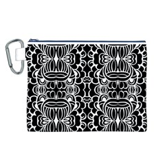 Psychedelic Pattern Flower Black Canvas Cosmetic Bag (l) by Mariart