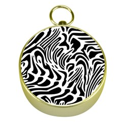 Psychedelic Zebra Black White Line Gold Compasses by Mariart