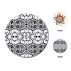 Psychedelic Pattern Flower Crown Black Flower Playing Cards (round)  by Mariart