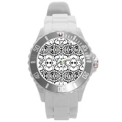 Psychedelic Pattern Flower Crown Black Flower Round Plastic Sport Watch (l) by Mariart