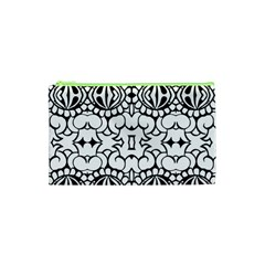 Psychedelic Pattern Flower Crown Black Flower Cosmetic Bag (xs) by Mariart