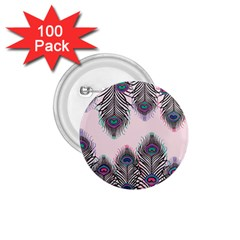 Peacock Feather Pattern Pink Love Heart 1 75  Buttons (100 Pack)