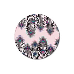 Peacock Feather Pattern Pink Love Heart Magnet 3  (round) by Mariart