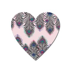 Peacock Feather Pattern Pink Love Heart Heart Magnet by Mariart