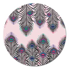 Peacock Feather Pattern Pink Love Heart Magnet 5  (round) by Mariart