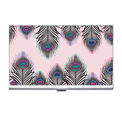 Peacock Feather Pattern Pink Love Heart Business Card Holders by Mariart