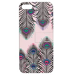 Peacock Feather Pattern Pink Love Heart Apple Iphone 5 Hardshell Case With Stand by Mariart