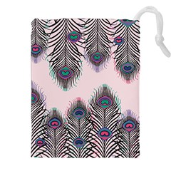 Peacock Feather Pattern Pink Love Heart Drawstring Pouches (xxl) by Mariart