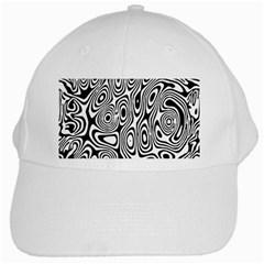 Psychedelic Zebra Black White White Cap by Mariart