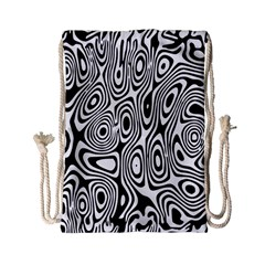 Psychedelic Zebra Black White Drawstring Bag (small) by Mariart