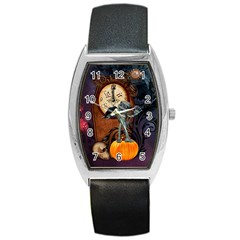 Funny Mummy With Skulls, Crow And Pumpkin Barrel Style Metal Watch by FantasyWorld7
