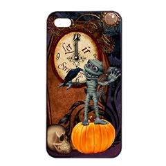 Funny Mummy With Skulls, Crow And Pumpkin Apple Iphone 4/4s Seamless Case (black) by FantasyWorld7