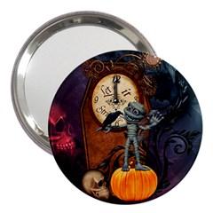 Funny Mummy With Skulls, Crow And Pumpkin 3  Handbag Mirrors by FantasyWorld7