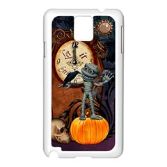Funny Mummy With Skulls, Crow And Pumpkin Samsung Galaxy Note 3 N9005 Case (white) by FantasyWorld7