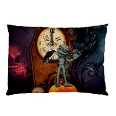 Funny Mummy With Skulls, Crow And Pumpkin Pillow Case by FantasyWorld7
