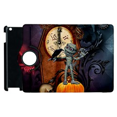 Funny Mummy With Skulls, Crow And Pumpkin Apple Ipad 2 Flip 360 Case by FantasyWorld7