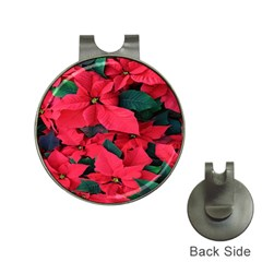 Red Poinsettia Flower Hat Clips With Golf Markers by Mariart