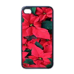 Red Poinsettia Flower Apple Iphone 4 Case (black) by Mariart