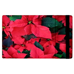 Red Poinsettia Flower Apple Ipad 3/4 Flip Case by Mariart
