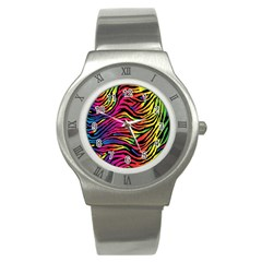 Rainbow Zebra Stainless Steel Watch by Mariart