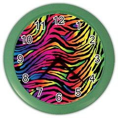 Rainbow Zebra Color Wall Clocks by Mariart