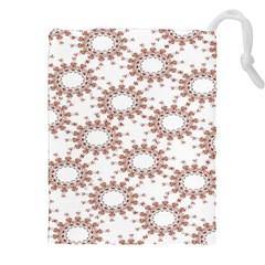 Pattern Flower Floral Star Circle Love Valentine Heart Pink Red Folk Drawstring Pouches (xxl) by Mariart