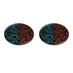 Square Pheonix Blue Orange Red Cufflinks (oval) by Mariart
