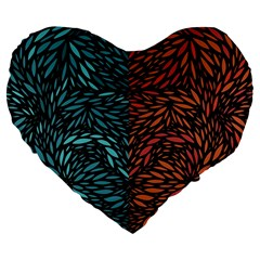 Square Pheonix Blue Orange Red Large 19  Premium Heart Shape Cushions by Mariart