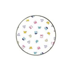Tea Cup Mug Dringking Yellow Blue Grey Polka Dots Hat Clip Ball Marker (4 Pack) by Mariart