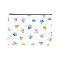 Tea Cup Mug Dringking Yellow Blue Grey Polka Dots Cosmetic Bag (large)  by Mariart