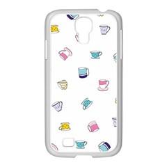 Tea Cup Mug Dringking Yellow Blue Grey Polka Dots Samsung Galaxy S4 I9500/ I9505 Case (white) by Mariart