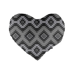 Triangle Wave Chevron Grey Sign Star Standard 16  Premium Flano Heart Shape Cushions by Mariart