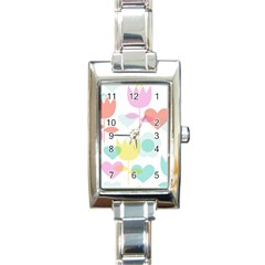 Tulip Lotus Sunflower Flower Floral Staer Love Pink Red Blue Green Rectangle Italian Charm Watch by Mariart