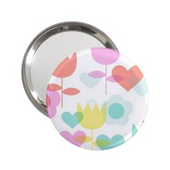 Tulip Lotus Sunflower Flower Floral Staer Love Pink Red Blue Green 2 25  Handbag Mirrors by Mariart