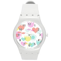 Tulip Lotus Sunflower Flower Floral Staer Love Pink Red Blue Green Round Plastic Sport Watch (m) by Mariart