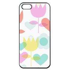 Tulip Lotus Sunflower Flower Floral Staer Love Pink Red Blue Green Apple Iphone 5 Seamless Case (black) by Mariart