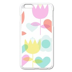 Tulip Lotus Sunflower Flower Floral Staer Love Pink Red Blue Green Apple Iphone 6 Plus/6s Plus Enamel White Case by Mariart